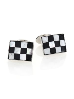 Sterling Silver, Onyx & Mother of Pearl Checkered Cuff Links