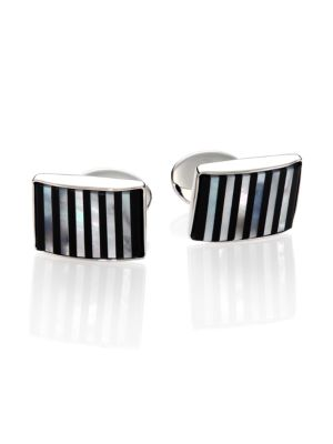 Sterling Silver, Onyx & Mother Of Pearl Cuff Links