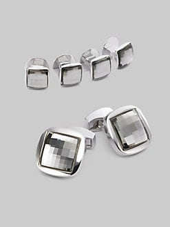 Tateossian - Cuff Link & Shirt Stud Set/Crystal