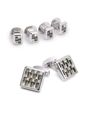 Cuff Link & Shirt Stud Set/Multi Crystal