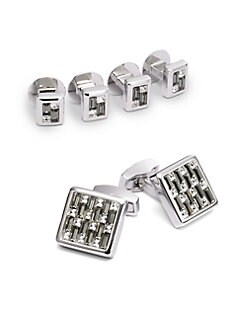 Tateossian - Cuff Link & Shirt Stud Set/Multi Crystal