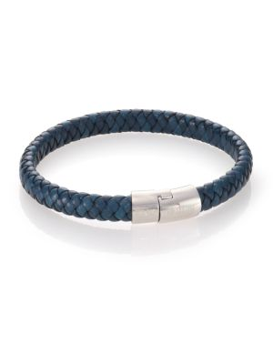 Leather & Sterling Silver Classic Cobra Braided Bracelet