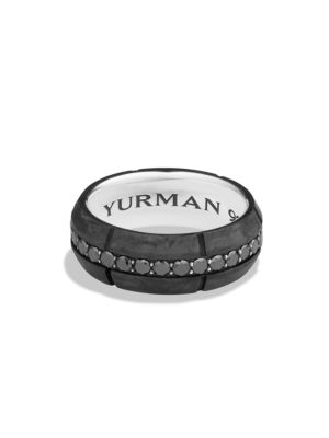 Forged Carbon Black Diamond Band Ring