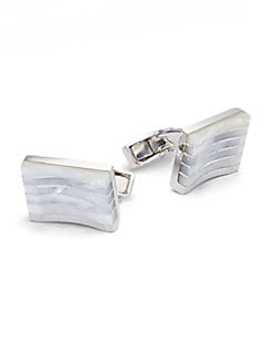 Tateossian - Striped Silver & Mother-of-Pearl Cuff Links