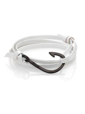 Coated Brass Hook Leather Bracelet