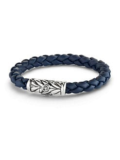 David Yurman - Sterling Silver & Braided Rubber Bracelet