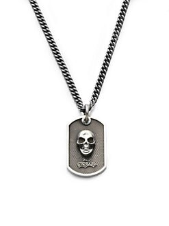 King Baby Studio - Sterling Silver Skull Dog Tag Necklace