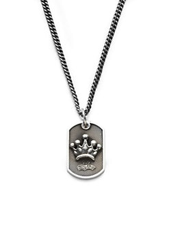 King Baby Studio - Sterling Silver Crown Dog Tag Necklace
