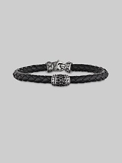 Scott Kay - Leather,  Sterling Silver& Black Sapphire Bracelet