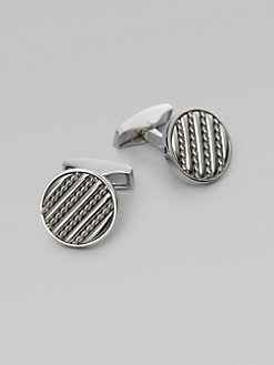 Tateossian - Silver Royal Cable Cuff Links/Round