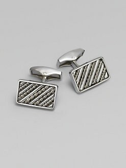 Tateossian - Silver Royal Cable Cuff Links/Rectangle