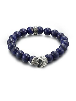 King Baby Studio - Sterling Silver Beaded Skull Bracelet/Lapis
