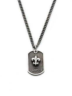 King Baby Studio - Sterling Silver Fleur de Lis Dog Tag Necklace
