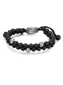 David Yurman - Black Onyx Beaded Two-Row Bracelet