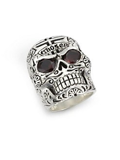 King Baby Studio - Garnet and Sterling Silver Skull Ring