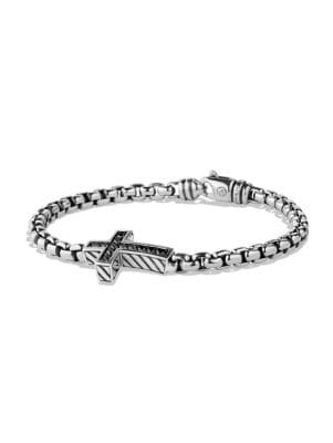Pavé Black Diamond Cross Bracelet