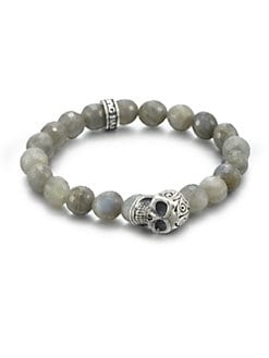 King Baby Studio - Sterling Silver Beaded Skull Bracelet/Labradorite