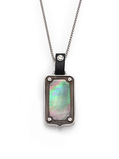 Plated Sterling Silver & Mother-of-Pearl Dog Tag Pendant
