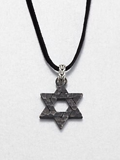 John Hardy - Black Bronze and Sterling Silver Star of David Necklace
