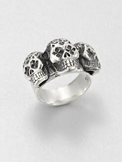 King Baby Studio - Sterling Silver Triple Day of the Dead Skull Ring