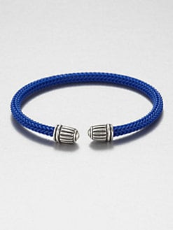 David Yurman - Sterling Silver Royal Cords Woven Rubber Bracelet