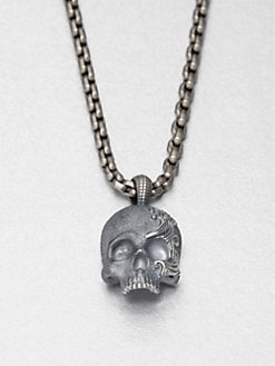 David Yurman - Large Sterling Silver Skull Pendant Necklace