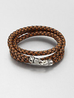 Scott Kay - Braided Leather and Sterling Silver Wrap Bracelet