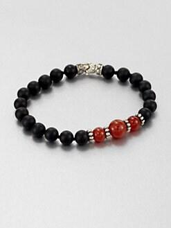 Scott Kay - Black Onyx, Red Onyx and Sterling Silver Bracelet