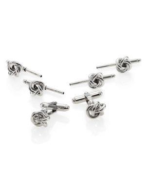 Silver Knot Stud Set
