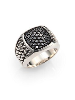 David Yurman - Sterling Silver and Black Diamond Ring
