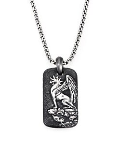 David Yurman - Griffin Sterling Silver Dog Tag Necklace