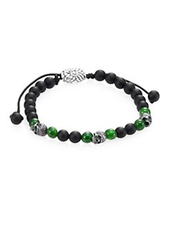 David Yurman - 6MM Single Row Woven Beaded Bracelet/Black Green