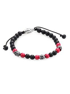 David Yurman - Single-Row Beaded Bracelet/Red Coral