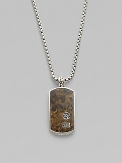David Yurman - Bronzite & Sterling Silver Dog Tag  Necklace/Large