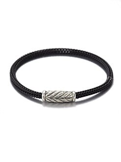 David Yurman - Sterling Silver Chevron Woven Rubber Bracelet