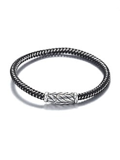 David Yurman - Sterling Silver Chevron Rubber & Metal Woven Bracelet