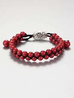 David Yurman - Red Coral Woven Beaded Bracelet