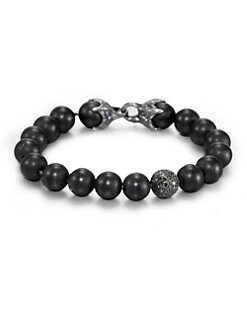 David Yurman - Black Onyx Beaded Pave Bracelet