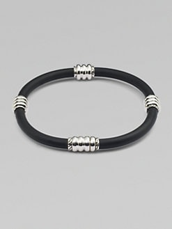 John Hardy - Silver & Rubber Cord Bracelet