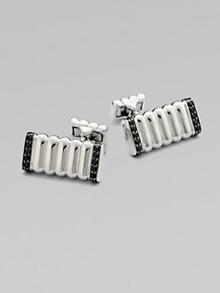 John Hardy - Bedeg Silver & Black Sapphire Cuff Links