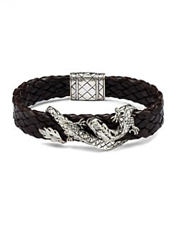 John Hardy - Silver Dragon & Leather Bracelet/Brown