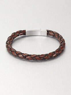 Tateossian - Single Braid Leather Bracelet