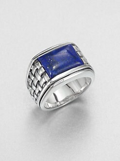 Scott Kay - Sterling Silver and Lapis Basketweave Ring
