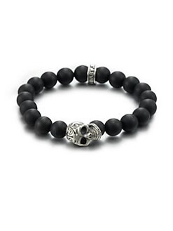 King Baby Studio - Sterling Silver Beaded Skull Bracelet/Onyx