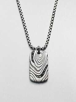 David Yurman - Wood Grain Dogtag Necklace