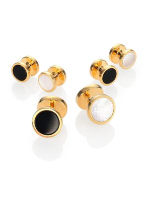 Gold-plated Silver, Onyx & Mother of Pearl Reversible Stud Set
