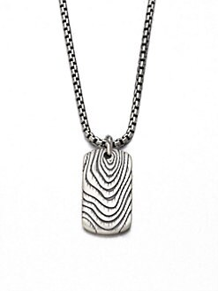 David Yurman - Sterling Silver Tag Pendant Necklace