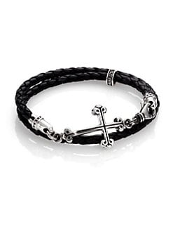 King Baby Studio - Cross Double-Wrap Leather Bracelet