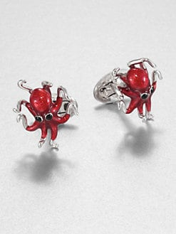 Jan Leslie - Red Octopus Cuff Links