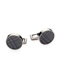 Burberry - Smoke Check Round Cuff Links